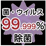 菌・ウイルス99.999%除菌